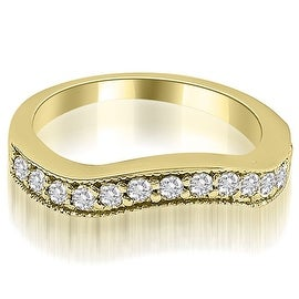 0.50 cttw. 14K Yellow Gold Curved Round Cut Diamond Wedding Ring