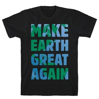 Make Earth Great Again White Print Black Men's Cotton Tee by LookHUMAN