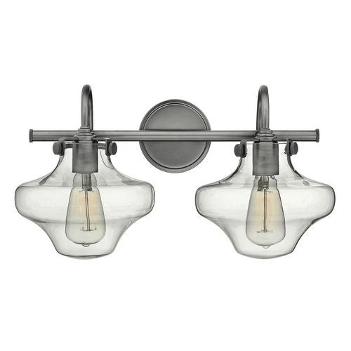 "Hinkley Lighting 50021 2 Light 20"" Width Bathroom Vanity Light with Clear Schoolhouse Shade from the Congress Collection"