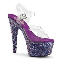 b1b759a452e Pleaser Women s Bejeweled 708MS Ankle Strap Sandal Clear PVC Purple Multi  Rhinestone