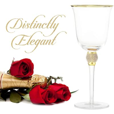 Cheer Collection Elegant Sparkling Studded Long Stem Rose Wine Glass with Gold or Silver Rim