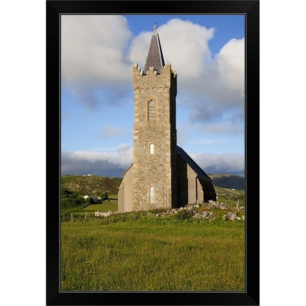 """Tall stone church, Glencolumbkille, County Donegal, Ireland"" Black Framed Print"