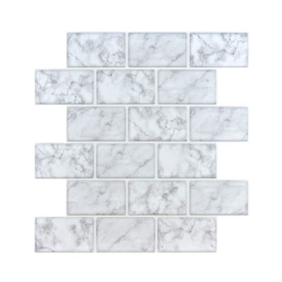 Marble Look Peel and Stick Subway Tile (Thicker Design)