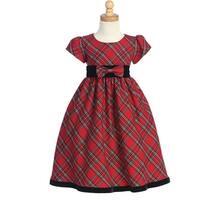 Girls Red Black Plaid Short Sleeve Christmas Dress 4-12