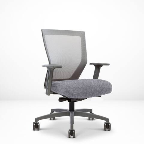 Run II, Ergonomic Mesh Chair, Synchro Tilt, Adjustable Arm, Built-In Natural Lumbar, Grey Frame, Light Beige Seat