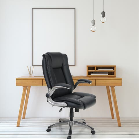 Sophia & William Leather Rocking Ergonomic Office Chair High Back, Modern 360° Swivel Executive Chair with Flip-up Armrests