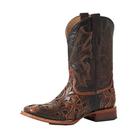 Stetson Western Boots Mens Handtooled Cross Brown