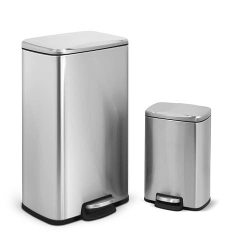 INNOVAZE Fingerprint Free Brushed Stainless Steel Kitchen and Bathroom Rectangular Trash Can Set