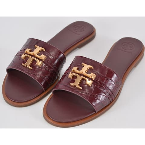 Tory Burch Claret Red Embossed Leather EVERLY Slides Sandals Shoes 7.5