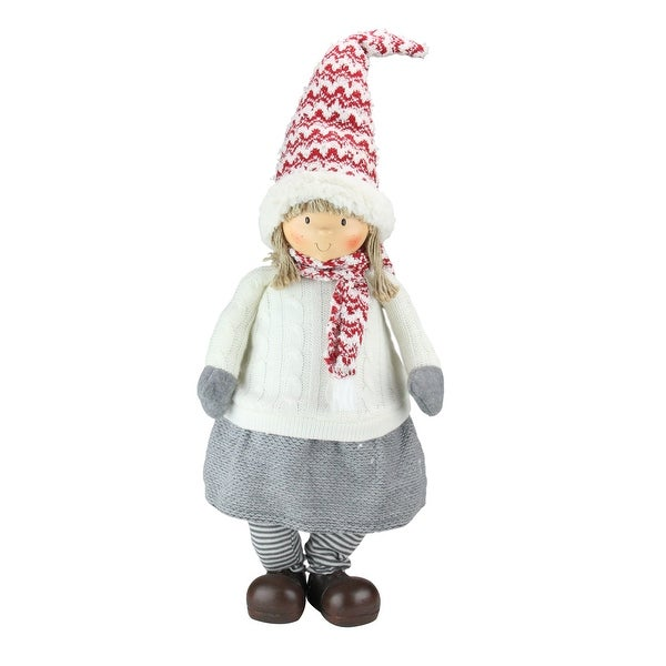 """24"""" Red, Gray, and Ivory Young Girl Gnome Christmas Tabletop Decoration - RED"""