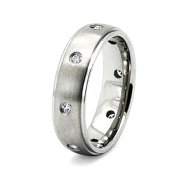 6.5mm Titanium Ring with CZ (Sizes 8-12)