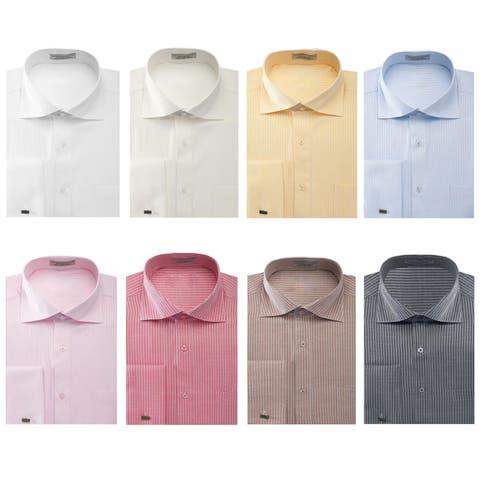 Men's Striped Herringbone French Cuff Dress Shirt