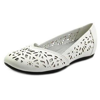 Easy Street Charlize Women Round Toe Synthetic White Flats