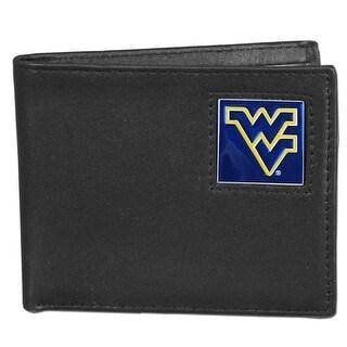 West Virginia Leather Bi Fold Wallet Black