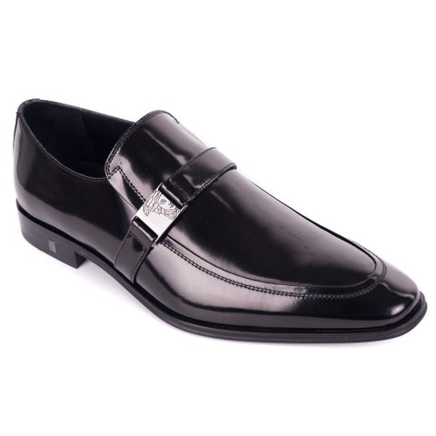 Versace Collection Brown Polished Leather Emblem Strap Loafers