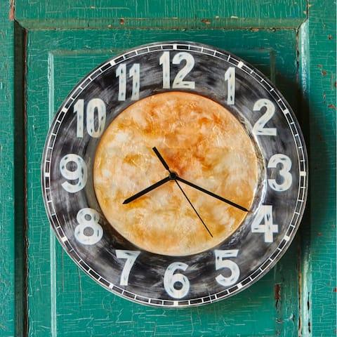 Handmade Clock With Black Rim - 13 x 2 x 13