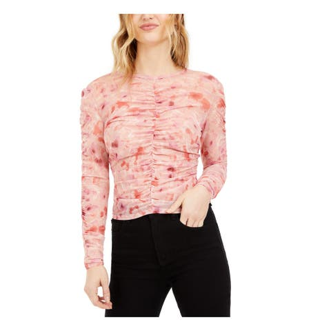 BAR III Womens Pink Sheer Floral Long Sleeve Jewel Neck Top Size XL