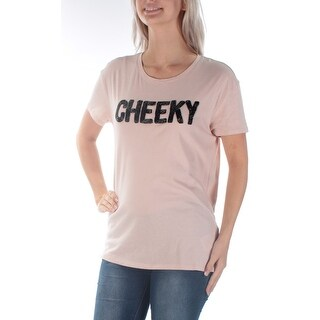 GUESS Womens New 1182 Pink Cheeky Beaded Short Sleeve T-Shirt Top S B+B