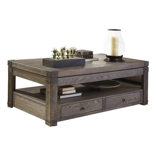 Ashley Furniture T846 9 Burladen Lift Top Coffee Table W Vintage Finish Metal Brackets On Free Shipping Today 17490132