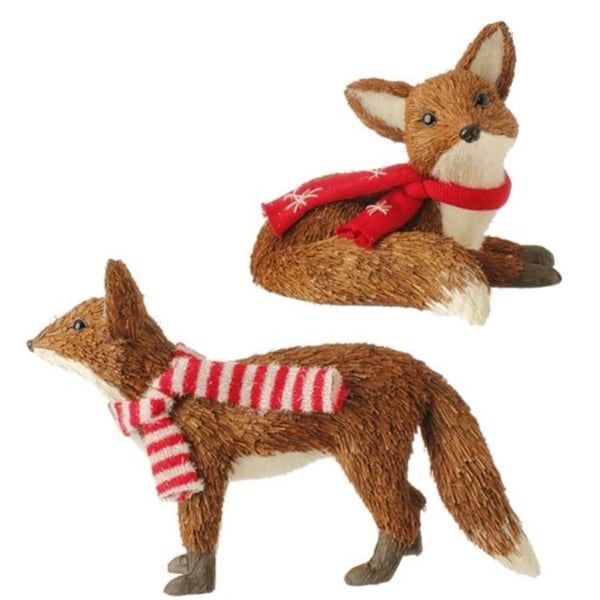 "8.5"" Snowy Time Grass Sitting Brown Fox with Red Scarf Christmas Table Top Piece"
