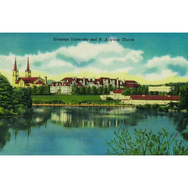 Spokane, WA Gonzaga St Aloysius - Vintage Halftone (100% Cotton Towel Absorbent)