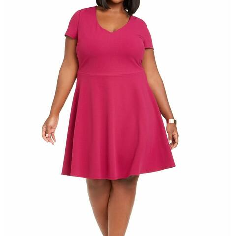B. Darlin Women's Dress Pink Size 18W Plus Sheath Back-Tie V-Neck