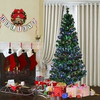 Costway 6Ft Pre-Lit Fiber Optic Artificial PVC Christmas Tree w/ Metal Stand Holiday - green