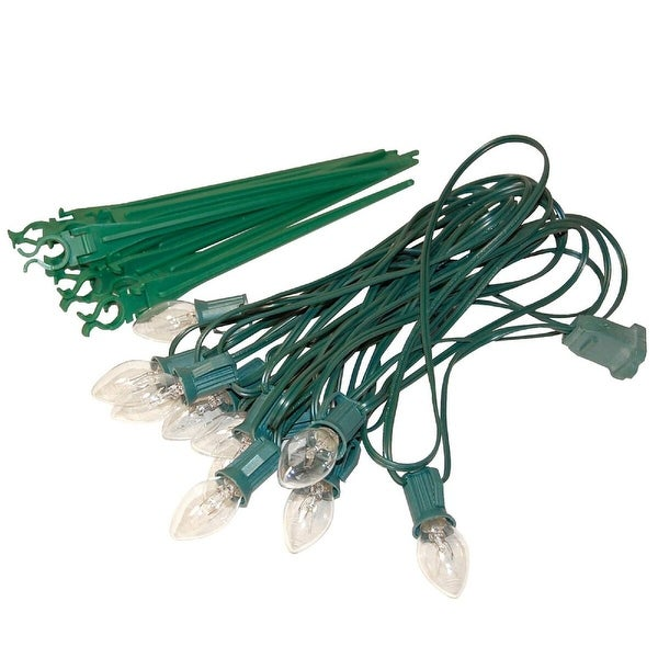 Set of 10 Clear White C7 Pathway Marker Lawn Stakes - Green Wire