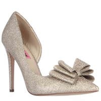 Betsey Johnson Prince Dorsay Bow Toe Pumps, Gold