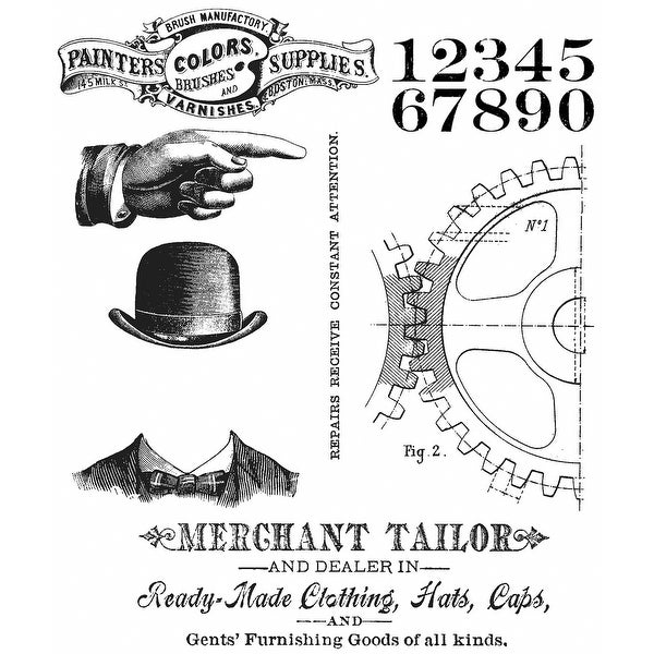 "Tim Holtz Cling Stamps 7""X8.5""-Dapper"