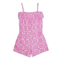 Baby Girls Pink Floral Pattern Spaghetti Strap Ruffle Overlay Romper