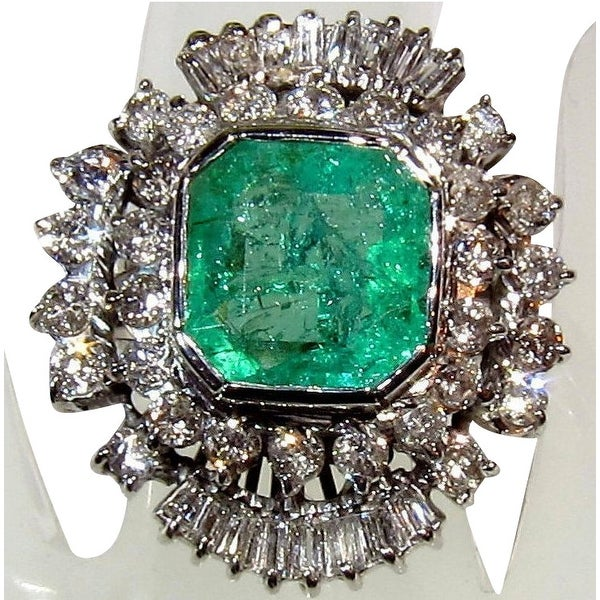 4.75TCW 14K Natural Emerald & Diamond One of a Kind Estate Deco Cocktail Ring