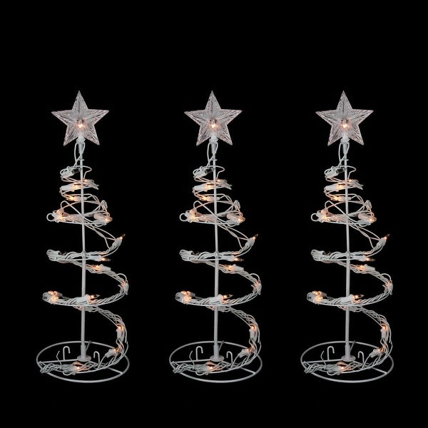 Set of 3 Clear Lighted Outdoor Spiral Walkway Christmas Trees Outdoor Decorations 18""