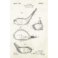 Golf Club Head Patent Poster (Aged Paper) - Sports Patents - 24x16 Poster