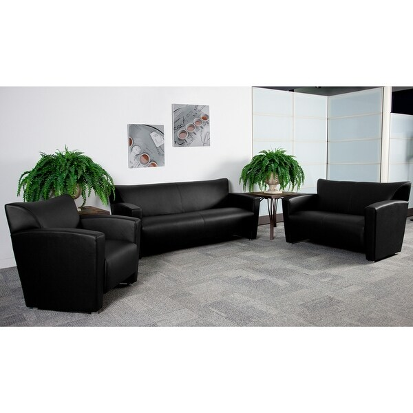 Radisson 3pcs Office Leather Sofa Sets, Black, Alum Ft