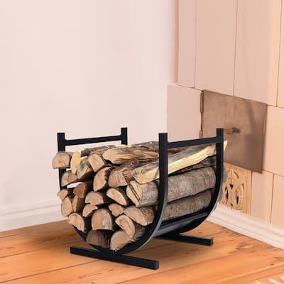 PHI VILLA 17 Inches Small Decorative Indoor/Outdoor Firewood Log Rack