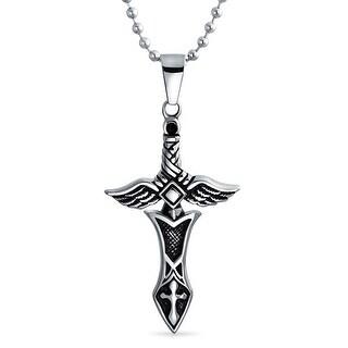 Mens Stainless Steel Angel Wing Sword Cross Pendant
