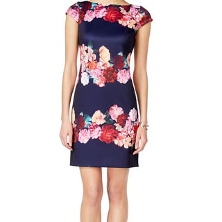 Vince Camuto NEW Blue Pink Women's Size 16 Floral Print Shift Dress