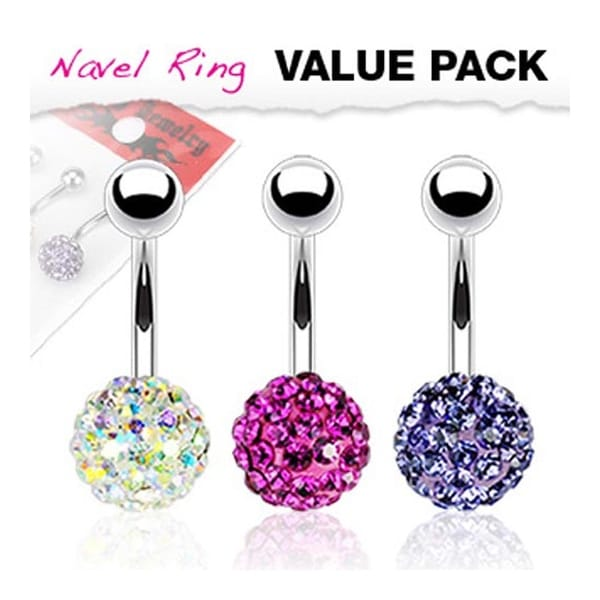 3 Pcs Pack of Assorted Color Multi Gem Ferido Navel Belly Button Ring
