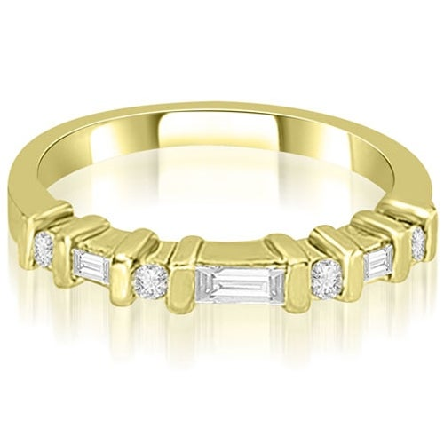 0.35 cttw. 14K Yellow Gold Round and Baguette Diamond Wedding Band