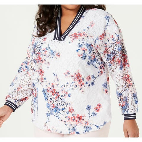 Tommy Hilfiger Women's White Size 3X Plus V neck Floral Peasant Top