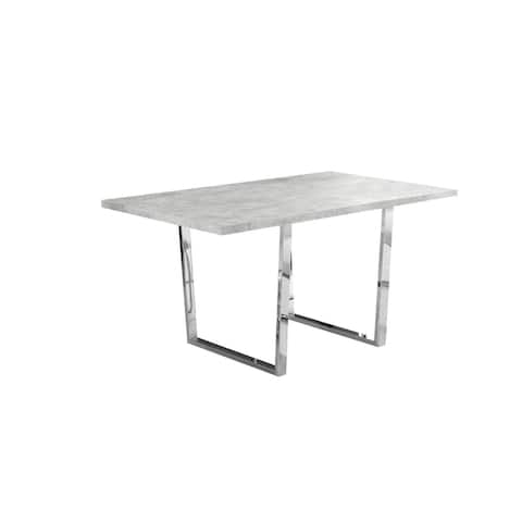 """Offex Dining Table - 36"""" x 60"""" Grey Cement/Chrome Metal - Not Available"""