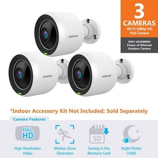 3 Pack SNH-V6430BN - Samsung Full HD WiFi 1080p PoE Outdoor Home Monitoring Camera