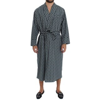 Dolce & Gabbana Green Hat Print Cotton Robe Coat Nightgown