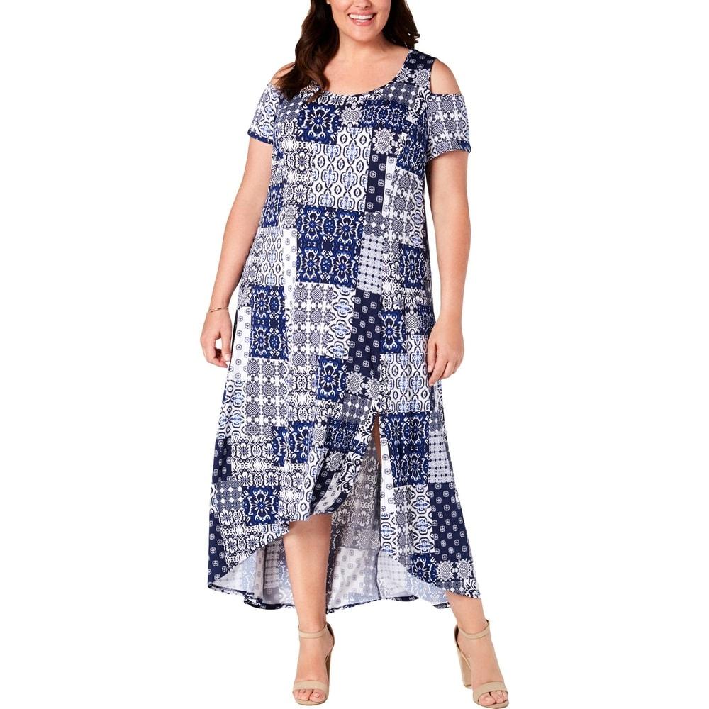 NY Collection Womens Plus Maxi Dress Petite Asymmetric