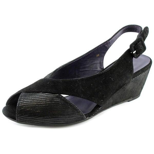 Vaneli Wilda Women N/S Peep-Toe Suede Black Slingback Heel