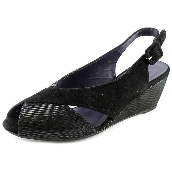 Vaneli Wilda Women Peep-Toe Suede Black Slingback Heel