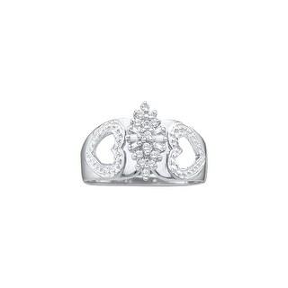 1/6Ctw Diamond Cluster Ring White-Gold 14K