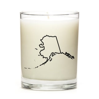 Custom Candles with the Map Outline Alaska, Fresh Linen