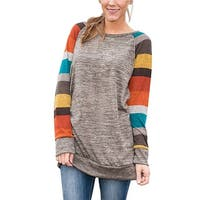 Women Lightweight Color Block Long Sleeve Sweatshirt